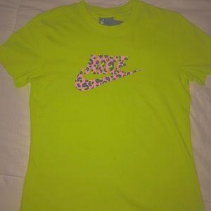 Light Green Nike Shirt with Pink Cheetah Print